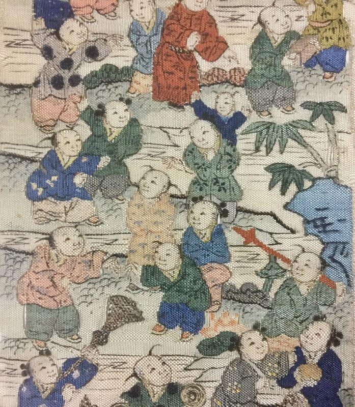 Antique Chinese embroidered silk - 緙丝百子婴戏图