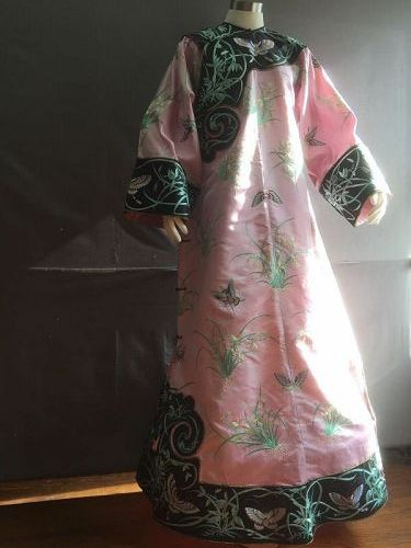 Antique Chinese embroidered Manchu silk robe with Orchid & butterflies