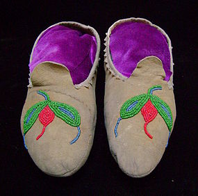 Athabascan Floral Beaded Hide Moccasins