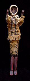 Eskimo Wood & Hide Articulated Doll
