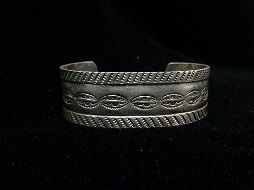 c. 1930 Navajo Stamped Coin Silver Bracelet