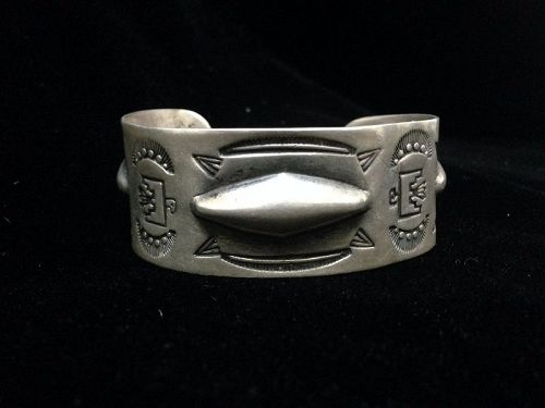 Navajo Coin Silver Bracelet with Three Diamond Areas of Repousse