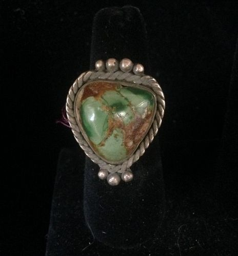Navajo Ring with Green Turquoise Stone