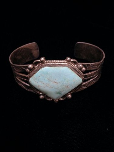Navajo Fred Harvey Style Bracelet with a Cerrillos Turquoise Stone