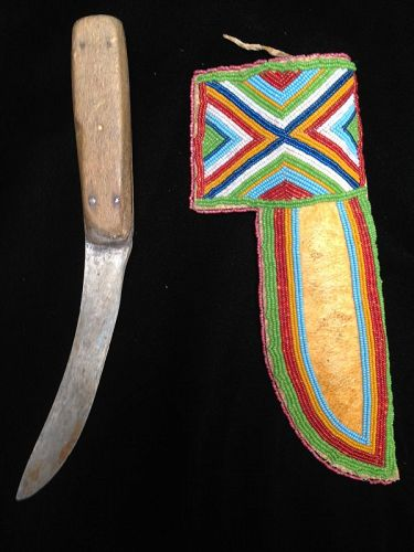 Plains Cree Beaded Hide Knife Case and Trade Knife