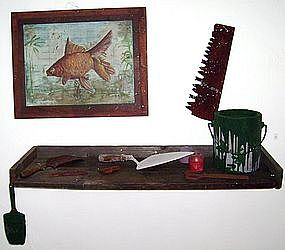 "Alan Kessler ""Goldfish Painting & Shelf"" Oil on Wood"