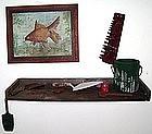 """Alan Kessler """"Goldfish Painting & Shelf"""" Oil on Wood"""