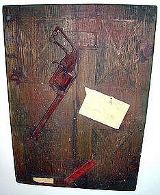 """Alan Kessler """"Hanging Gun"""" Oil on Wood"""