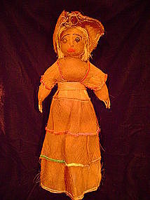 """Rare Seminole All Palmetto Female Doll c.1930-40"""