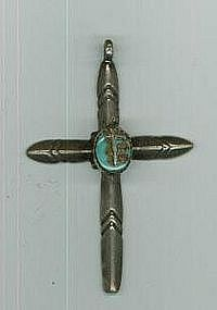 """""""Navajo Turquoise and Silver Cross"""""""