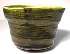 Ovoid  Medieval Green Hakeme Teabowl (1137tb)