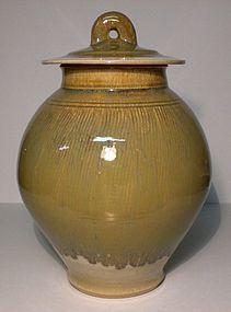 LG SAFFRON YELLOW BANDED KUSHIME COVERED JAR