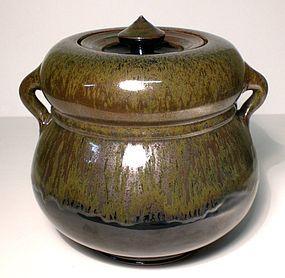 IRON PARTRIDGE FEATHER AND TEMMOKU WATER JAR