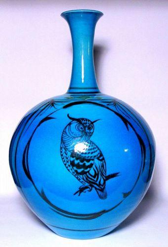 PERSIAN BLUE OWL VASE BY SUZUKI TAKUJI