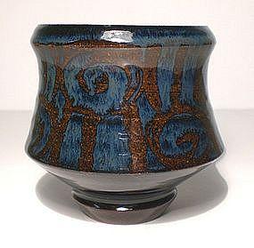 Ameyu & Gosu Blue Glazed Teabowl With Rozome Decoration
