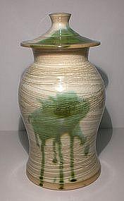 Lg. Hakeme Cover Jar With Medieval Green Splash