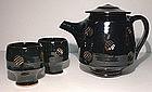 Rich Temmoku Impressed Teapot Set