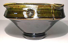 Temmoku & Medieval Green Altered Serving Bowl