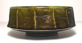 Medieval Green & Temmoku Mentori Serving Bowl