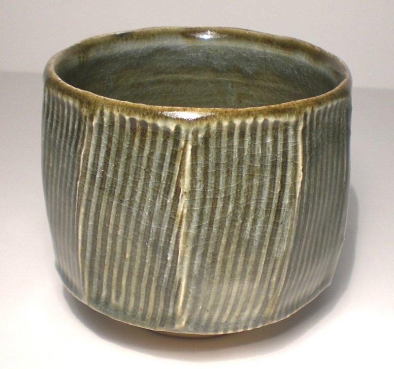Ao Glazed Kushime-Mentori Teabowl