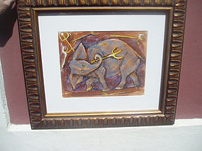 Water color Elephant Sgnd Listed Recds E. Romano