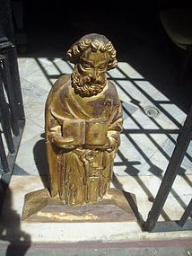 18thc Byzantine Carved Wood Sculpture St Peter