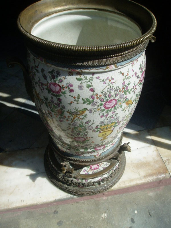 Lge French 19thc Porcelain Table Vase with Bronze