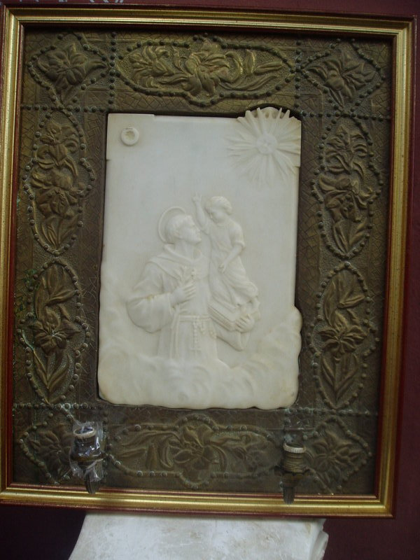 19thc Marble Bas Relief St Anthony Italian