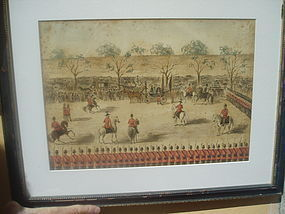 19thc Austrian Military Parade Watercolor-1860s