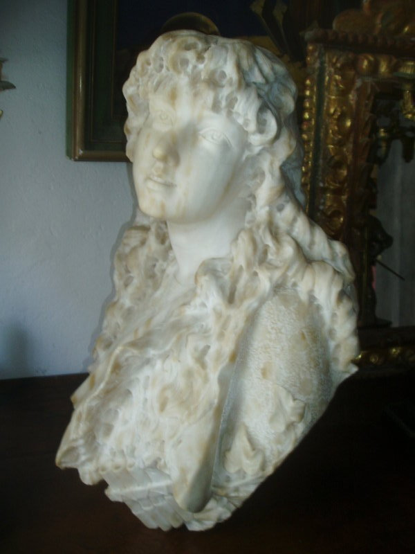 Carved Large Female Marble Bust Sgnd Dtd 1885