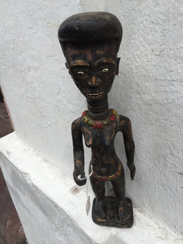 Colonial African Female Carved Wood  Sculpture Early 20thc