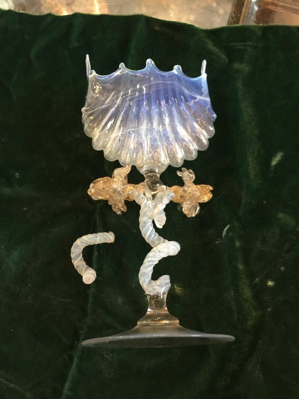 Two Pieces of Fancy Venetian Glass Needing Repair