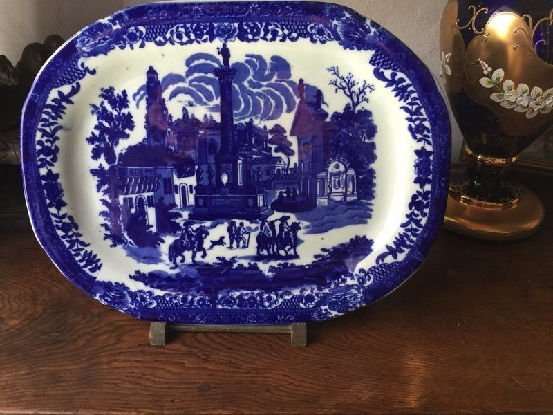 Lge English Ironstone Platter Mexican Motif 17 by 13 inches 1860s
