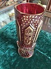 Magnificent Ruby Cut Glass & Gilt Moser Vase Ca 1900