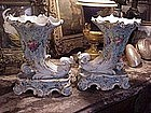 French cornucopia vases pr, porcelain 140yrs