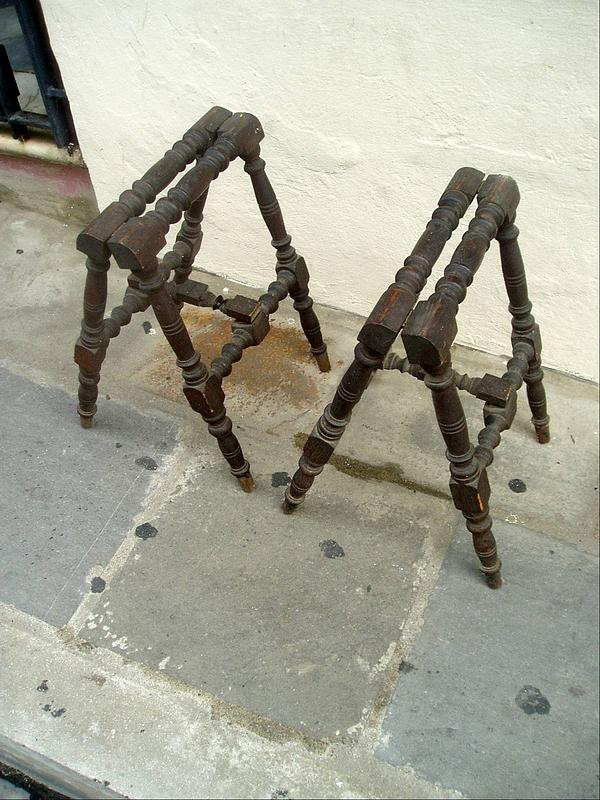 Spanish Turned Wood Suitcase Stands- ca 1920s
