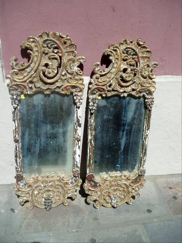 Pr 18thc Painted, Carved Gilt Mirrors Italian