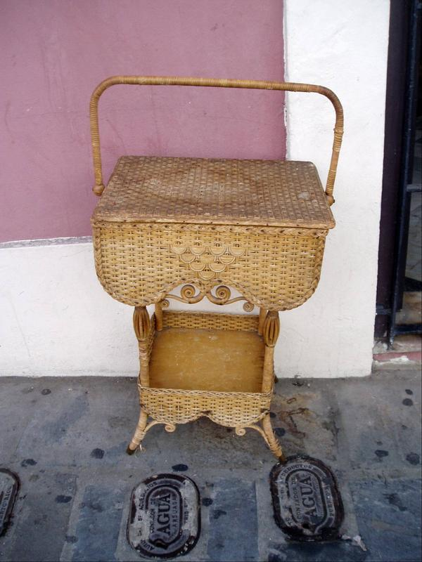 Early 20thc Standing Wicker Basket