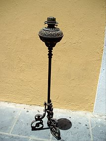 Iron and Brass Standing Oil Lamp  ca 1900