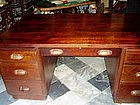 Puerto Rican Solid Mahogany Partners Desk  Art Deco