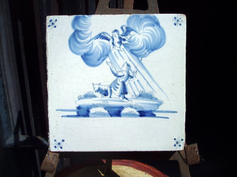 18thc Dutch Delft Blue White Biblical