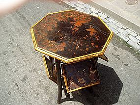 19thc Japanese Hexagon Bamboo Lacquered Tea Table