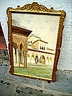 19thc Spanish Watercolor Alhambra Signed