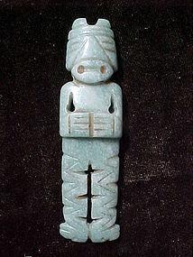Pre-Columbian Translucent Costa Rican Jade Figure Pendant 300-700AD
