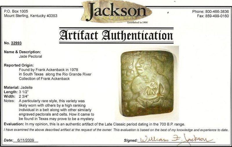Extremely Rare Jade Mayan Nebaj Picture-Plaque 700 AD COA