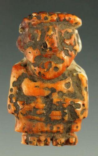 V. Rare Unique Spondylus Shell Human Carving Peru Ex. Weidner