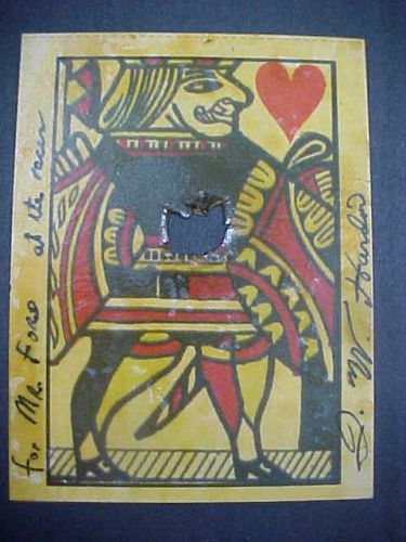 John Wesley Hardin Rare Signed Playing Card with Bullet Hole