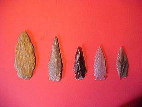 Various Petrified Wood Arrowheads