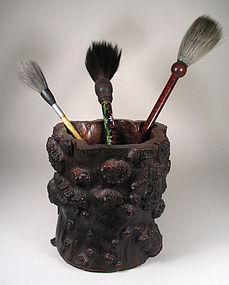 Large Chinese Scholar�s Burl Brush Pot, Qing