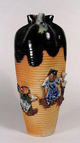Tall Japanese Sumida Vase, Signed Inoue